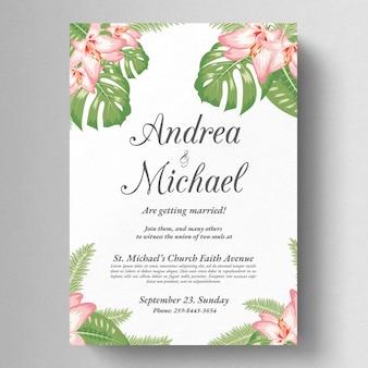 Invitación floral tropical de la boda