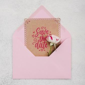 Invitación de maqueta de concepto de boda