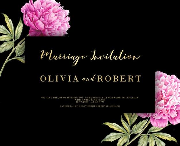 Invitación de matrimonio con nombres y flores.