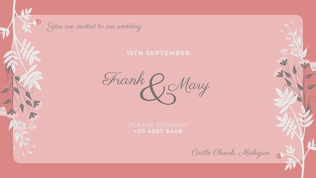 Invitación rosa con flores blancas pintadas