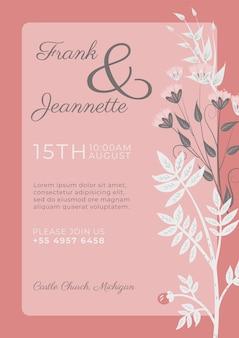 Invitación rosa con plantilla de flores ornamentales blancas