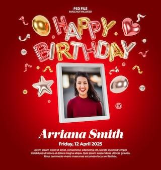 Invitaciones de cumpleaños digitales para maquetas de publicaciones en redes sociales