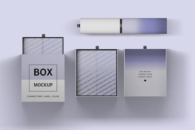 Inzameling van verpakkingsdozen en 3d illustratie van de verpakkingsbuis