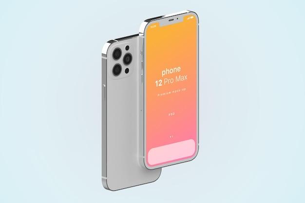 Iphone 12 pro max rechtop in isometrische weergave psd-mockup
