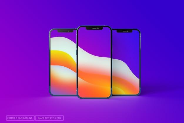 Iphone 12 pro realistische mockup met meerdere schermen