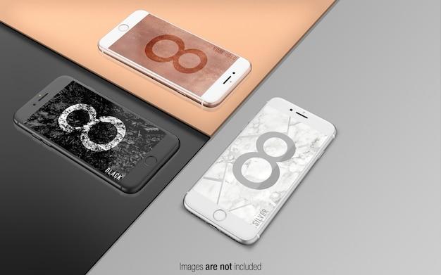 Iphone 8 psd maqueta perspectiva vista collage escena