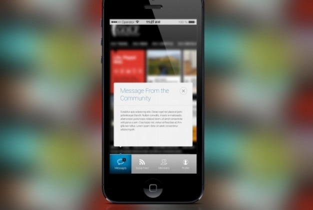 Iphone mensaje emergente estilo de diseño plano
