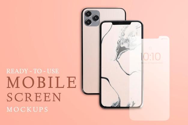 Iphone mockup psd-scherm, voor- en achterkant, marmeren esthetiek
