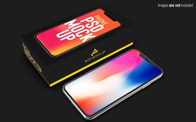 Iphone x psd maqueta con caja de teléfono
