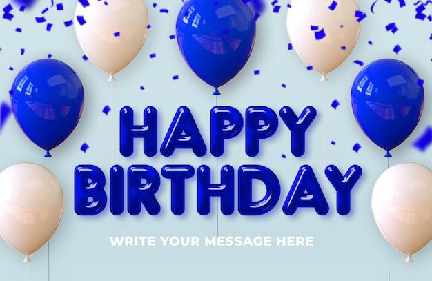 Iscrizione di buon compleanno con palloncini di rendering 3d