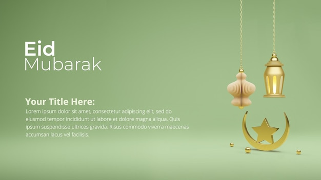 Islamitisch postontwerp 3d geef van eid mubarak terug