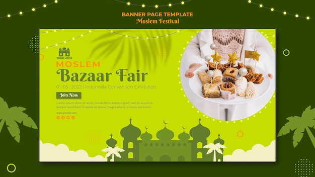 Islamitische bazaar eerlijke banner websjabloon