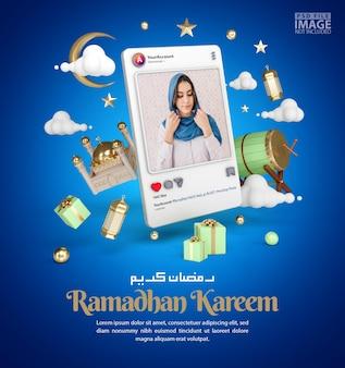 Islamitische decoratie voor ramadan kareem begroeting achtergrond met 3d instagram-sjabloon voor spandoek