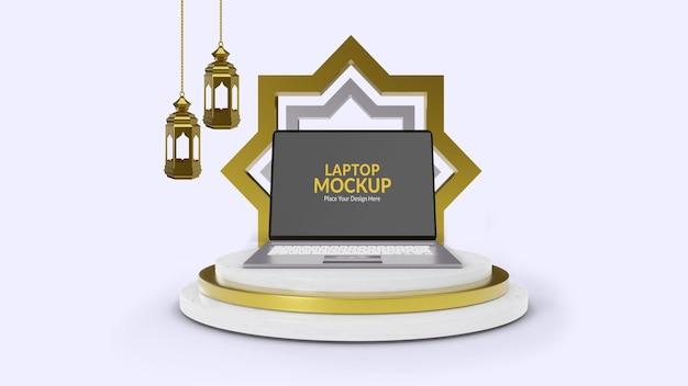 Islamitische productpromotie met laptopmodel op podium