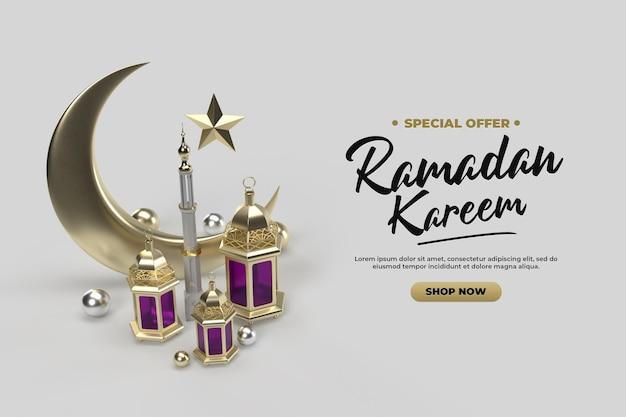 Islamitische ramadan viering groeten 3d gouden render sjabloon Premium Psd