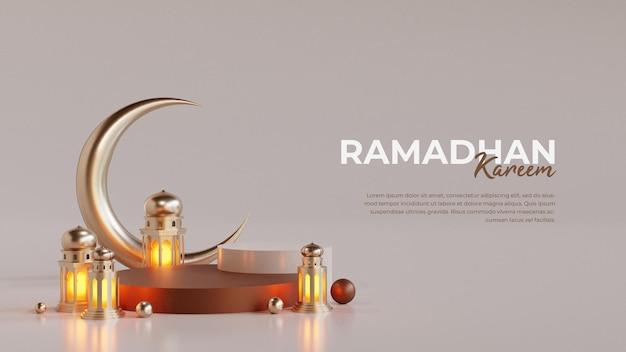 Islamitische ramadan wenskaartsjabloon met 3d-wassende maan en arabische lantaarn