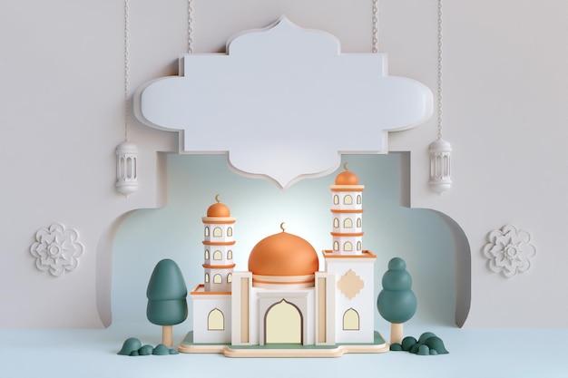 Islamitische weergave decoratie moskee gebouw met gouden koepel