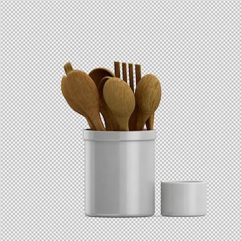 Isométrica utensilios de cocina 3d render
