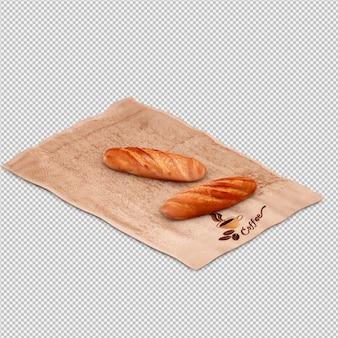 Isometrisch geïsoleerde brood 3d geeft terug