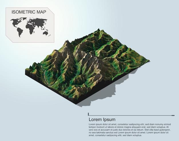 Isometrisch kaart virtueel terrein 3d voor infographic.