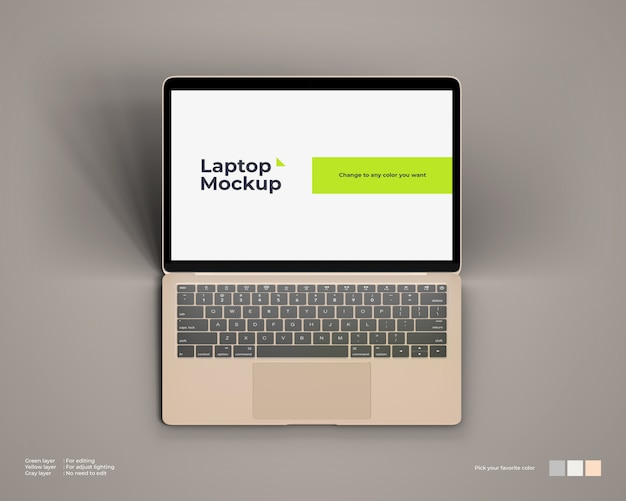 Isometrisch laptopmodel ziet eruit als bovenaanzicht