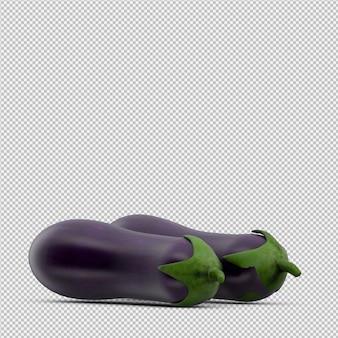 Isometrische 3d aubergine geeft terug