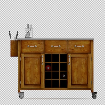 Isometrische 3d keukenlijst geeft terug
