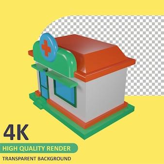 Isometrische apotheek cartoon weergave 3d-modellering