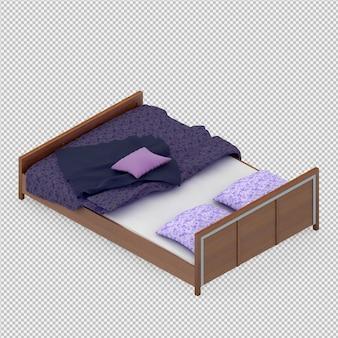 Isometrische bed 3d render