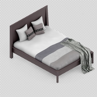 Isometrische bed 3d render
