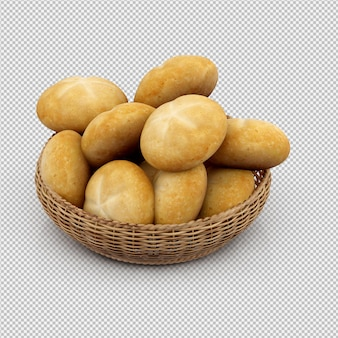 Isometrische brood 3d geïsoleerd