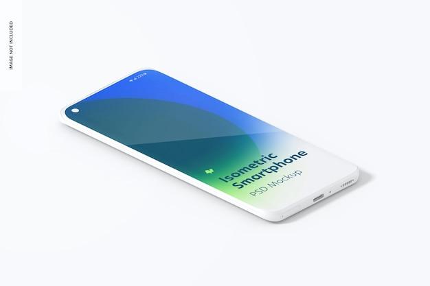 Isometrische clay smartphone mockup, juiste weergave