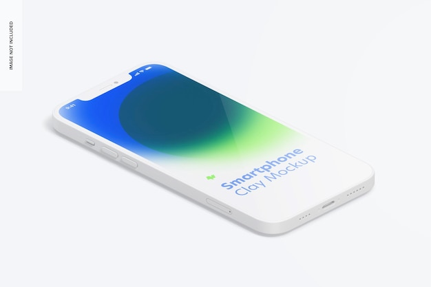 Isometrische clay smartphone mockup, linkeraanzicht