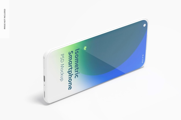 Isometrische clay smartphone psd mockup, landschap juiste weergave Premium Psd