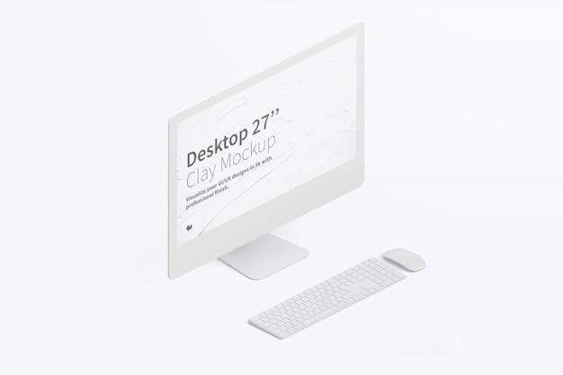 Isometrische desktopcomputer mockup met toetsenbord en muis