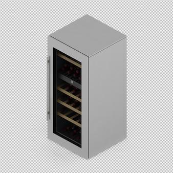 Isometrische geïsoleerde koelkast 3d geeft terug