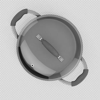 Isometrische geïsoleerde steelpan 3d geeft terug