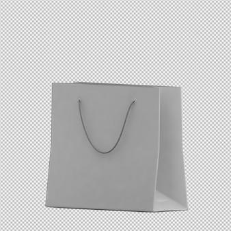 Isometrische geïsoleerde zak 3d geeft terug