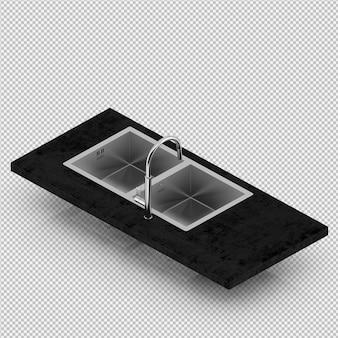 Isometrische gootsteen 3d render
