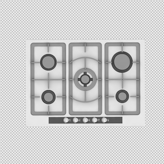 Isometrische keuken bereik 3d render