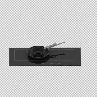 Isometrische keuken kookplaat 3d render