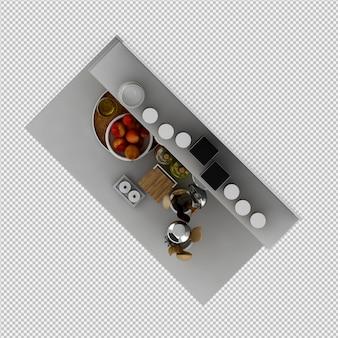 Isometrische keukenaccessoires 3d render