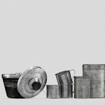 Isometrische keukengerei 3d render