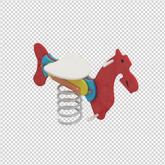 Isometrische kid paard speelgoed
