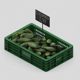 Isometrische komkommers 3d render