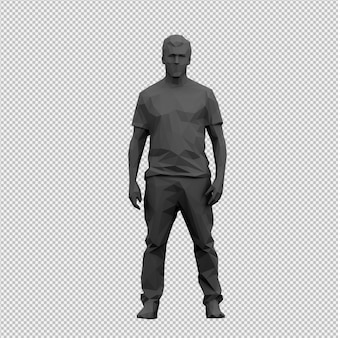 Isometrische mannelijke 3d render