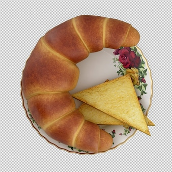 Isometrische ontbijt 3d geïsoleerd