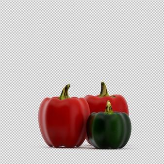 Isometrische paprika's 3d render