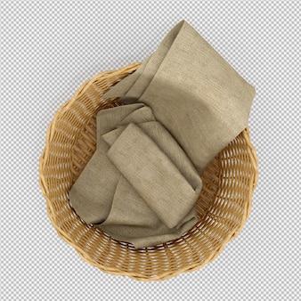 Isometrische picknickmand geïsoleerde 3d render