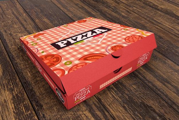Isometrische pizzadoos mockup